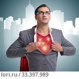 Купить «Superhero preparing to save the city», фото № 33397989, снято 4 июля 2020 г. (c) Elnur / Фотобанк Лори