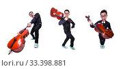 Купить «Funny man with violin on white», фото № 33398881, снято 13 мая 2013 г. (c) Elnur / Фотобанк Лори