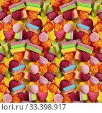 Купить «Разноцветные конфеты. Бесшовный фон из разноцветного мармелада. Можно создать бесконечное изображение», фото № 33398917, снято 12 марта 2020 г. (c) ирина реброва / Фотобанк Лори