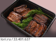 Купить «Meat steak portion with dill high angle shot», фото № 33401637, снято 28 января 2020 г. (c) Гурьянов Андрей / Фотобанк Лори