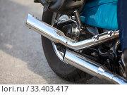 Two direct exhaust pipes on chopper motorcycle, chrome loud sound silencer. Стоковое фото, фотограф Кекяляйнен Андрей / Фотобанк Лори