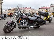 The Honda Valkyrie GL1500C F6C is parked during the motorcycle season opening on Palace Square in Saint-Petersburg (2018 год). Редакционное фото, фотограф Кекяляйнен Андрей / Фотобанк Лори