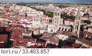 Купить «Aerial view on the Cathedral of Burgos. Castilla y Leon. Spain», видеоролик № 33403857, снято 20 июня 2019 г. (c) Яков Филимонов / Фотобанк Лори