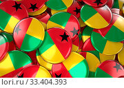 Guinea-Bissau Badges Background - Pile of Bissau-guinean Flag Buttons. 3D Rendering. Стоковое фото, фотограф Zoonar.com/Jurgis Mankauskas / age Fotostock / Фотобанк Лори