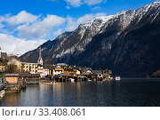 Hallstatt - UNESCO Heritage village against mountain and lake in winter. It`s most popular, romance and dream of destination for many tourists. Austria. Редакционное фото, фотограф Papoyan Irina / Фотобанк Лори