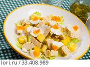 Salad with chicken, egg and pineapple. Стоковое фото, фотограф Яков Филимонов / Фотобанк Лори