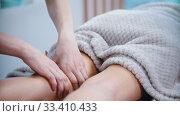 Купить «Massage - female masseuse massaging the hips of a slender woman with a special massage technique», видеоролик № 33410433, снято 10 апреля 2020 г. (c) Константин Шишкин / Фотобанк Лори