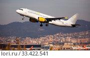 Купить «Takeoff of Vueling Airbus EC-JYX from El Prat Airport», фото № 33422541, снято 2 февраля 2020 г. (c) Яков Филимонов / Фотобанк Лори