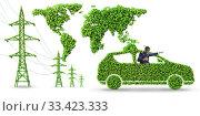Купить «Electric car and green energy concept», фото № 33423333, снято 10 июля 2020 г. (c) Elnur / Фотобанк Лори