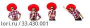 Купить «Funny mexican with sombrero in concept», фото № 33430001, снято 21 января 2014 г. (c) Elnur / Фотобанк Лори