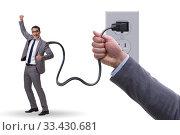 Купить «Businessman being powered by electricity and plug», фото № 33430681, снято 4 апреля 2020 г. (c) Elnur / Фотобанк Лори