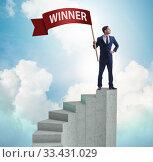 Купить «Businessman winner on top of staircase», фото № 33431029, снято 4 апреля 2020 г. (c) Elnur / Фотобанк Лори