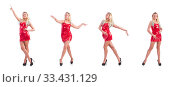 Blondie in red sparkling mini dress isolated on white. Стоковое фото, фотограф Elnur / Фотобанк Лори
