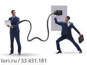 Купить «Businessman being powered by electricity and plug», фото № 33431181, снято 4 апреля 2020 г. (c) Elnur / Фотобанк Лори