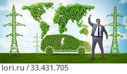 Купить «Electric car and green energy concept», фото № 33431705, снято 15 июля 2020 г. (c) Elnur / Фотобанк Лори
