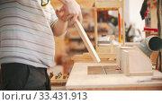 Купить «Carpentry working - two men workers working with plywood», видеоролик № 33431913, снято 2 июня 2020 г. (c) Константин Шишкин / Фотобанк Лори