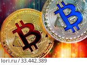 Купить «Physical version of Bitcoin (new virtual money) with colorful effect», фото № 33442389, снято 1 июня 2020 г. (c) easy Fotostock / Фотобанк Лори