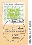 Купить «50-летие немецкой ассоциации сельских женщин, почтовый штемпель Бонн. Почтовая марка ФРГ 1998 года», иллюстрация № 33444561 (c) александр афанасьев / Фотобанк Лори