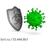 metallic shield with symbol biohazard and virus on white background. Isolated 3D illustration. Стоковая иллюстрация, иллюстратор Ильин Сергей / Фотобанк Лори
