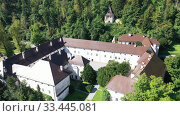 Купить «Panoramic view from drone of the Bistra castle in Vrhnika. Slovenia», видеоролик № 33445081, снято 4 сентября 2019 г. (c) Яков Филимонов / Фотобанк Лори