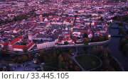 Купить «Night view from the drone on the Ceske Budejovice. Czech Republic», видеоролик № 33445105, снято 11 октября 2019 г. (c) Яков Филимонов / Фотобанк Лори