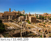 Panorama of the ancient buildings of the Roman forum, top view. Rome, Italy (2017 год). Стоковое фото, фотограф Наталья Волкова / Фотобанк Лори