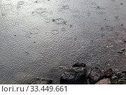 Raindrops ripples in the lake. Стоковое фото, фотограф Gagara / Фотобанк Лори