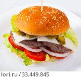 Купить «Double burger», фото № 33449845, снято 14 июля 2020 г. (c) Яков Филимонов / Фотобанк Лори