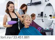 Hairdresser drying hair of elderly female. Стоковое фото, фотограф Яков Филимонов / Фотобанк Лори