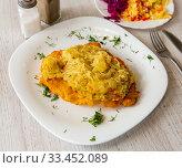 Купить «Pork loin with sauerkraut, polish cuisine», фото № 33452089, снято 6 июня 2020 г. (c) Яков Филимонов / Фотобанк Лори
