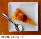 Sweet Catalan cream pie dessert with caramel crust. Стоковое фото, фотограф Яков Филимонов / Фотобанк Лори
