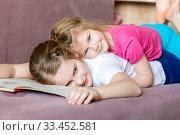 Купить «Two adorable little happy sisters are playing in their room.», фото № 33452581, снято 6 февраля 2020 г. (c) Акиньшин Владимир / Фотобанк Лори