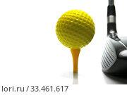 Купить «Golf ball and a golf club isolated against a white background», фото № 33461617, снято 2 апреля 2020 г. (c) easy Fotostock / Фотобанк Лори