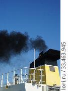 Купить «Smoke from Ferry Smokestack, Marstal, Ærø Island, Denmark.», фото № 33463945, снято 25 августа 2019 г. (c) age Fotostock / Фотобанк Лори