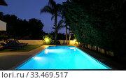 Купить «The night view of the villa swimming pool. Pissouri village. Limassol district. Cyprus», видеоролик № 33469517, снято 26 марта 2020 г. (c) Serg Zastavkin / Фотобанк Лори