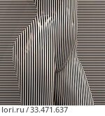 Купить «3d Geometric Stripped Pattern Illustration Art, Line Distortion Illusion Design, Abstract Woman Body Figure, Zebra Mannequin, Stripped Dummy», фото № 33471637, снято 14 июля 2020 г. (c) age Fotostock / Фотобанк Лори