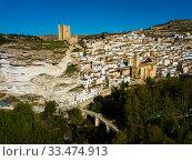 Купить «Aerial view of Alcala del Jucar, Spain», фото № 33474913, снято 24 апреля 2019 г. (c) Яков Филимонов / Фотобанк Лори