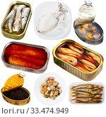 Купить «Set of assorted fish and seafood. Raw and semi-finished products», фото № 33474949, снято 8 апреля 2020 г. (c) Яков Филимонов / Фотобанк Лори