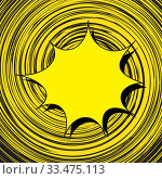 Купить «Speech bubble on spirally twisted lines background. Black-yellow color scheme. Motion lines for comic book and manga. Vector bright dynamic cartoon illustration. Pop-art style template for design», иллюстрация № 33475113 (c) Dmitry Domashenko / Фотобанк Лори