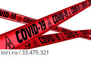 Купить «COVID-19. The warning tapes», иллюстрация № 33475321 (c) WalDeMarus / Фотобанк Лори