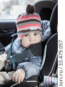 Portrait of infant child sitting in car safety seat, eight month old. Стоковое фото, фотограф Кекяляйнен Андрей / Фотобанк Лори