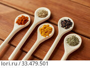 Купить «spoons with different spices on wooden table», фото № 33479501, снято 6 сентября 2018 г. (c) Syda Productions / Фотобанк Лори