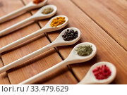 Купить «spoons with different spices on wooden table», фото № 33479629, снято 6 сентября 2018 г. (c) Syda Productions / Фотобанк Лори
