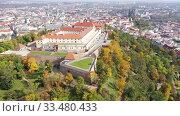 Купить «Above view of medieval castle Spilberk. City of Brno. South Moravian region. Czech Republic», видеоролик № 33480433, снято 15 октября 2019 г. (c) Яков Филимонов / Фотобанк Лори