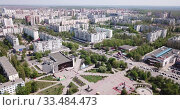 Купить «Panoramic view from drone of the residential district of city Old Oskol. Russia», видеоролик № 33484473, снято 4 мая 2019 г. (c) Яков Филимонов / Фотобанк Лори