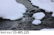 Купить «Горная речка Белокуриха в марте среди снега, Алтайский край», видеоролик № 33485225, снято 11 марта 2020 г. (c) Григорий Писоцкий / Фотобанк Лори