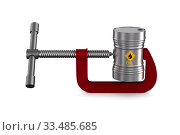 oil barrel and clamp on white background. Isolated 3D illustration. Стоковая иллюстрация, иллюстратор Ильин Сергей / Фотобанк Лори