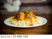 Купить «boiled vermicelli with meat and gravy in a plate», фото № 33488169, снято 6 апреля 2020 г. (c) Peredniankina / Фотобанк Лори
