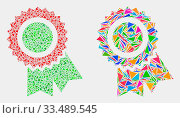 Купить «Award seal collage icon of triangle items which have various sizes and shapes and colors. Geometric abstract vector design concept of award seal.», фото № 33489545, снято 7 июня 2020 г. (c) age Fotostock / Фотобанк Лори