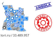 Купить «Wheel vector Angola map mosaic and stamps. Abstract Angola map is constructed of gradiented randomized gears. Engineering territorial plan in gray and blue colors,», фото № 33489957, снято 6 июня 2020 г. (c) age Fotostock / Фотобанк Лори